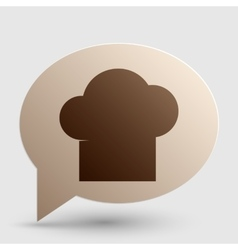 Chef cap sign brown gradient icon on bubble with vector