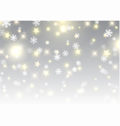 christmas background of stars and snowflakes vector image vector image