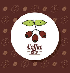 Colorful poster with emblem coffee shop with vector