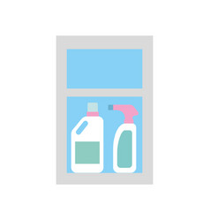 Detergent bottles in case vector