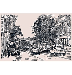 Digital drawing of city traffic engraving style vector image