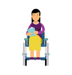 disabled woman in wheelchair reading a book vector image vector image