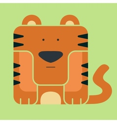 Flat square icon of a cute tiger vector image