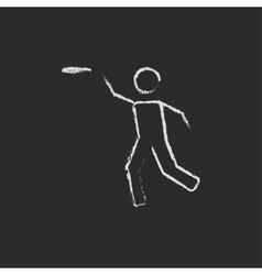Frisbee icon drawn in chalk vector