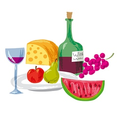 Fruits and wine vector