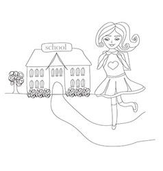 Girl going to school vector