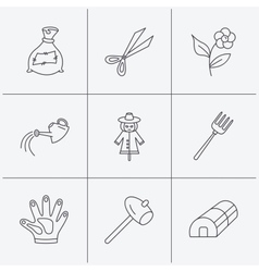 Hammer hothouse and watering can icons vector