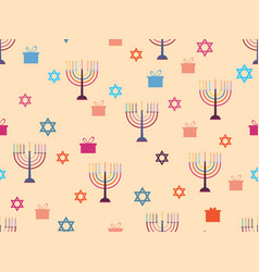 hanukkah seamless pattern with candlesticks stars vector image