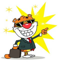 Happy Tiger Pointing Towards Success vector image vector image