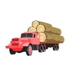 Heavy loaded red logging truck vector