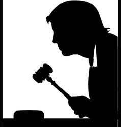 Judge hand with gavel silhouette vector