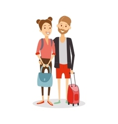 Married couple on journey young happy newlyweds vector