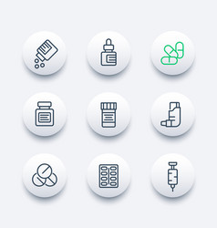 Medicaments line icons set vector