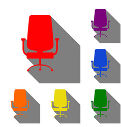 Office chair sign set of red orange yellow vector