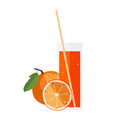Orange juice in a glass with orange in flat style vector