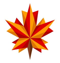 Origami maple leaf vector image vector image