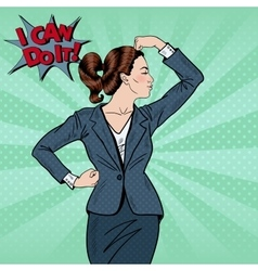 Pop Art Confident Business Woman Showing Muscles vector image vector image