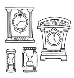set of doodle hand drawn watches isolated vector image vector image