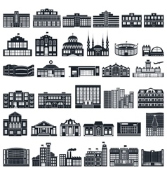 Set of icons buildings series flat vector