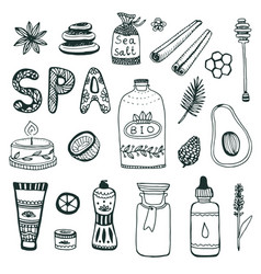 Spa hand dawn collection beauty icon set original vector