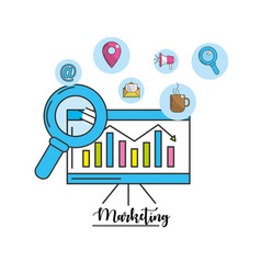 Statistic information with technology tools icon vector