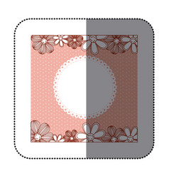 sticker color pattern dotted with flowers vector image