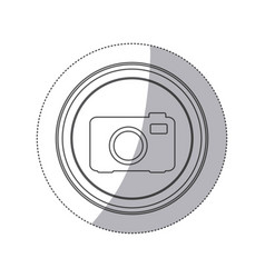 sticker monochrome silhouette circular button with vector image