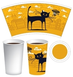 Template of paper cup for hot drink vector