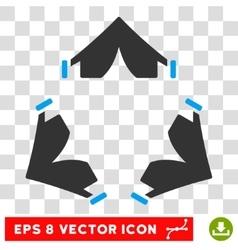 Tent camp round eps icon vector