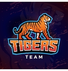 Tiger mascot sport logo design template vector