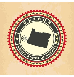 Vintage label-sticker cards of Oregon vector image