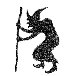 witch doodle silhouette vector image vector image