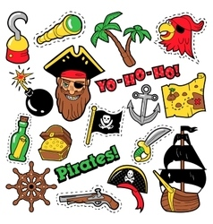 Pirates badges patches stickers vector