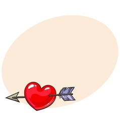 Red shiny cartoon heart pieced by Cupid arrow vector image