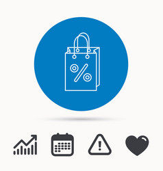 shopping bag icon sale and discounts sign vector image