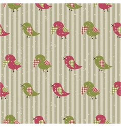 Seamless retro pattern with birds vector