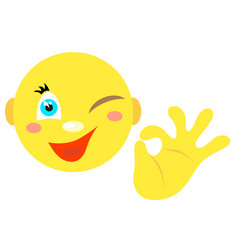 smiley with a gesture ok vector image