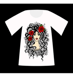 T-shirt with a drawing of beautiful woman vector