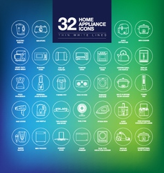 Home appliances icons thin vector