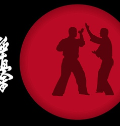 Two men are engaged in karate on a red background vector