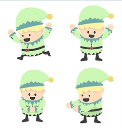 Christmas elves and different poses vector