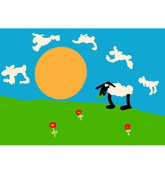 Child drawing of a sheep on the lawn vector