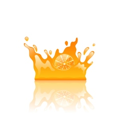 Orange juicy splash crown vector