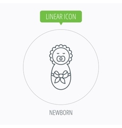 Newborn baby icon toddler with bow sign vector