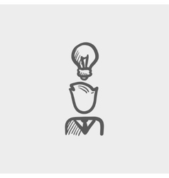 Businessman with idea sketch icon vector