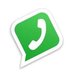 White phone handset in green speech bubble icon vector