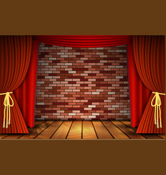 Red curtains on brick wall vector
