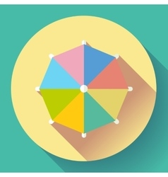 Beach umbrella top view icon  flat design vector