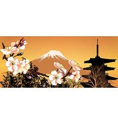 Postcard sakura japanese vector
