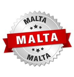 Malta round silver badge with red ribbon vector